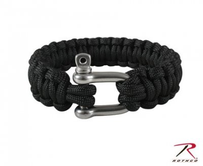 ARMY PARACORD ARMBAND  w/ D-SHACKLE SVART