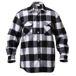 EXTRA HEAVYWEIGHT BRAWNY FLANNEL SHIRTS White/Black