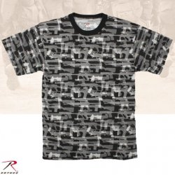 MEN'S BLACK FADED GUNS PATTERN T-SHIRT