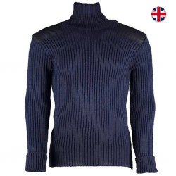 Brittisk Woolly Pully Roll Neck 100% Ull - Marinblå
