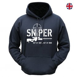 Brittisk Hoodie - Sniper Out of Sight - Svart