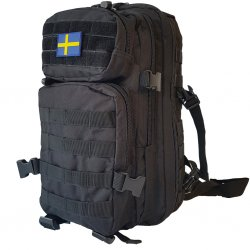 US Assault Backpack Black 30L- Swedish Flag