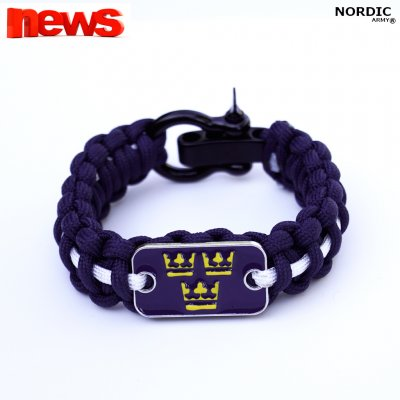 Royal Crown Paracord armband - Marinblå/Vit