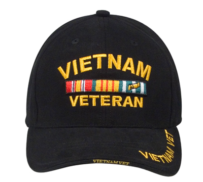 US LOW PROFILE VIETNAM VET INSIGNIA CAP BLACK
