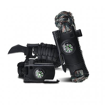 Survival Paracord Armband - Black Camo