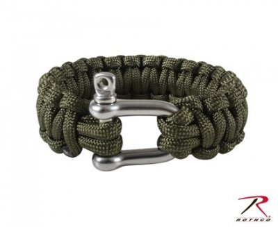 ARMY PARACORD ARMBAND w/ D-SHACKLE Olivgrön