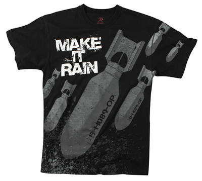Amerikansk T-shirt Svart MAKE IT RAIN/BOMBS