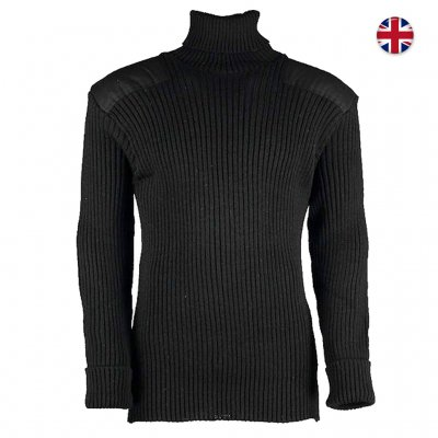 Brittisk Woolly Pully Roll Neck 100% Ull - Svart